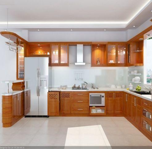 Mẫu tủ bếp xoan đào đẹp hiện đại H4