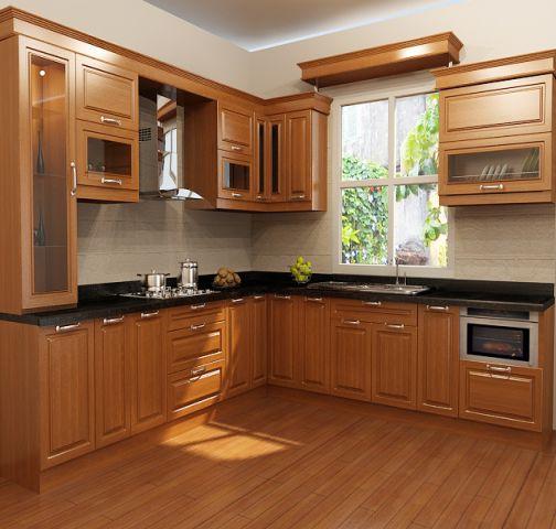 Mẫu tủ bếp xoan đào đẹp hiện đại H5