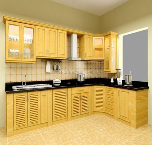 Mẫu tủ bếp xoan đào đẹp hiện đại H8