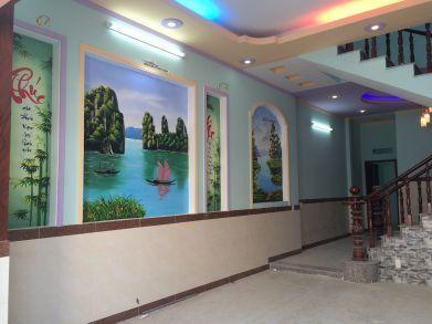 Tường trang trí tranh phong thủy đẹp.