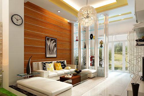mẫu phòng khách ốp gỗ 5