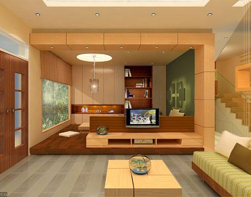mẫu phòng khách ốp gỗ 8