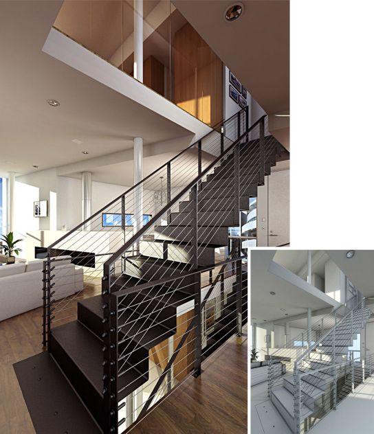 mẫu cầu thang sắt đơn giản--Kiểu dáng 4