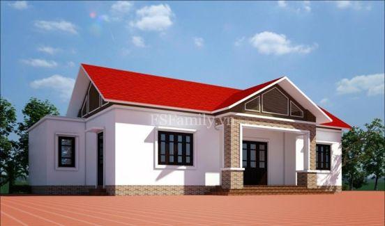 Thiết kế nhà cấp 4 mái tôn đơn giản--Mẫu 9