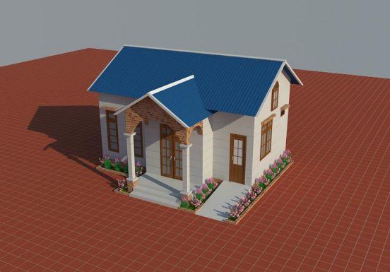 Thiết kế nhà cấp 4 mái tôn đơn giản--Mẫu 2