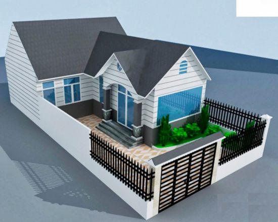 Thiết kế nhà cấp 4 mái tôn đơn giản--Mẫu 3