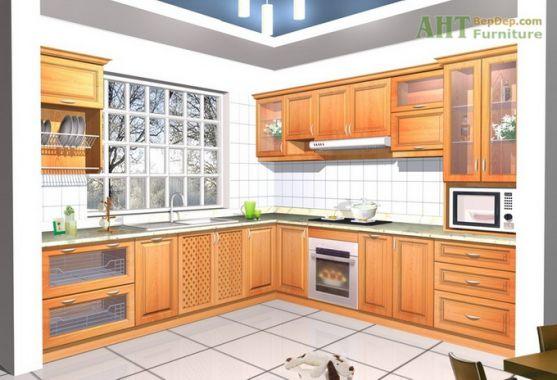 mẫu tủ bếp đẹp hình chữ l--Mẫu 11